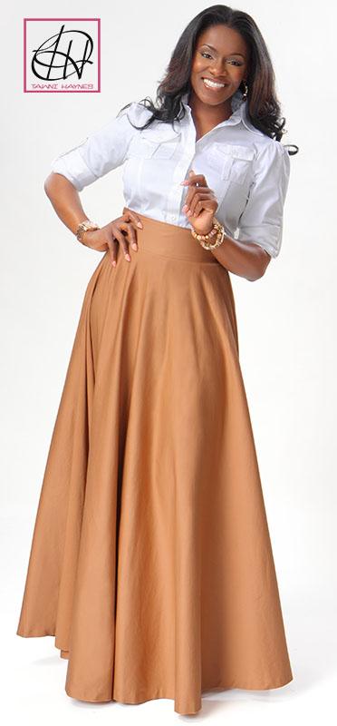 Tawni Haynes Military Blouse with Floor Length High Waist Swing Skirt